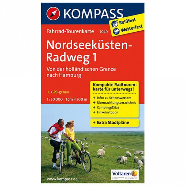 Kompass - Nordseeküstenradweg 1, Holland nach Hamburg - Cycling map