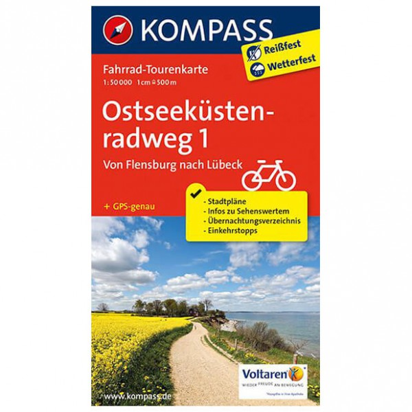 Kompass - Ostseeküstenradweg 1, Von Flensburg nach Lübeck - Cycling map