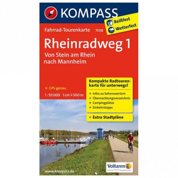Kompass - Rheinradweg 1, Von Stein am Rhein nach Mannheim - Fietskaarten