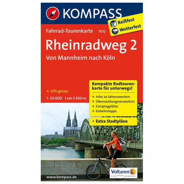 Kompass - Rheinradweg 2, Von Mannheim nach Köln - Cycling map