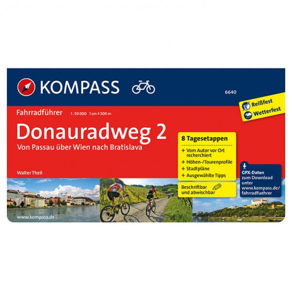 Kompass - Donauradweg 2 von Passau über Wien nach Bratislava - Cykelguides