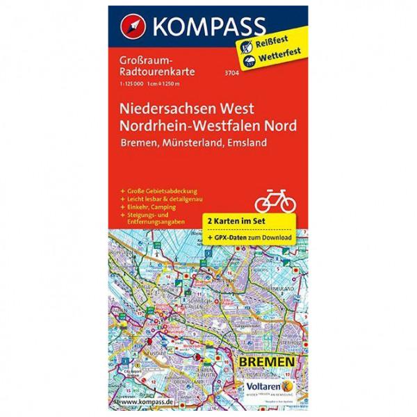 Kompass - Niedersachsen West, Nordrhein-Westfalen Nord - Mapa de rutas en bicicleta
