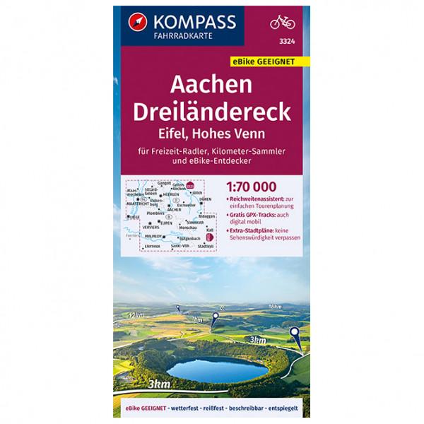 Kompass - Fahrradkarte Aachen, Dreiländereck, Eifel - Cykelkort