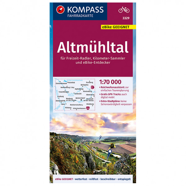 Kompass - Fahrradkarte Altmühltal 1:70.000, FK 3329 - Cykelkartor
