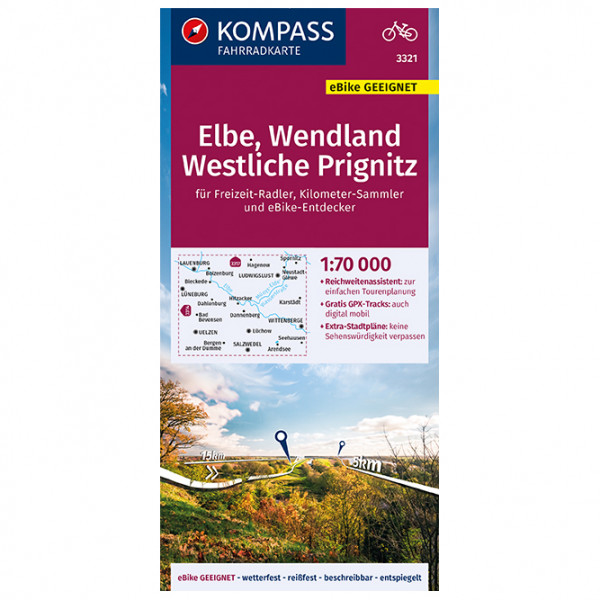Kompass - Fahrradkarte Elbe, Wendland, Westliche Prignitz - Cycling map