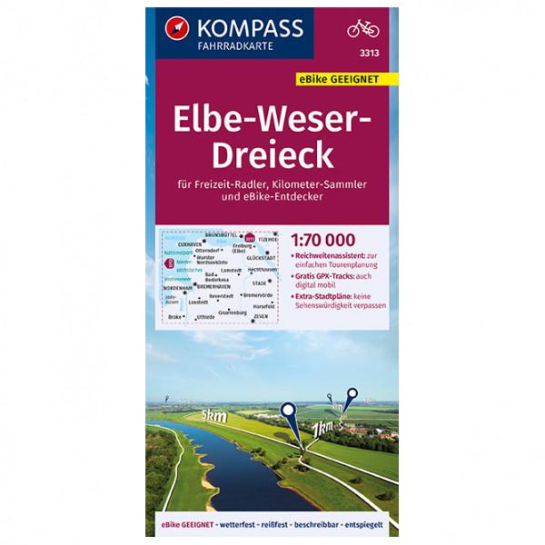Kompass - Fahrradkarte Elbe-Weser-Dreieck 1:70.000, FK 3313 - Pyöräilykartat