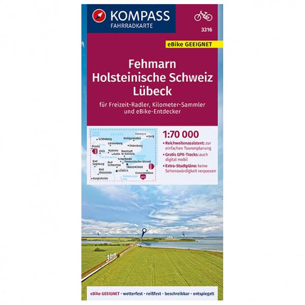 Kompass - Fahrradkarte Fehmarn, Holsteinische Schweiz Lübeck - Cykelkort