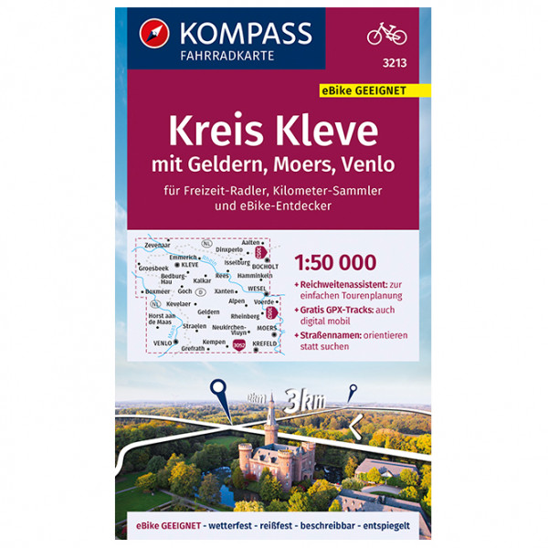 Fahrradkarte Kreis Kleve mit Geldern, Moers - Cycling map