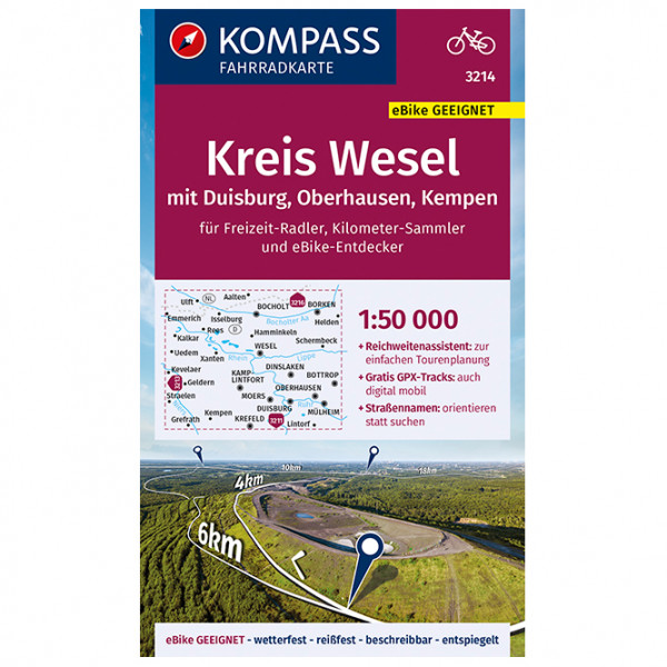 Kompass - Fahrradkarte Kreis Wesel mit Duisburg, Oberhausen - Cykelkartor