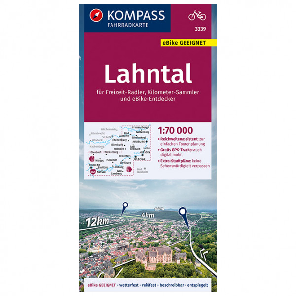 Kompass - Fahrradkarte Lahntal 1:70.000, FK 3339 - Cykelkartor