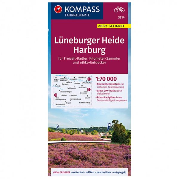 Kompass - Fahrradkarte Lüneburger Heide, Harburg - Mapa de rutas en bicicleta