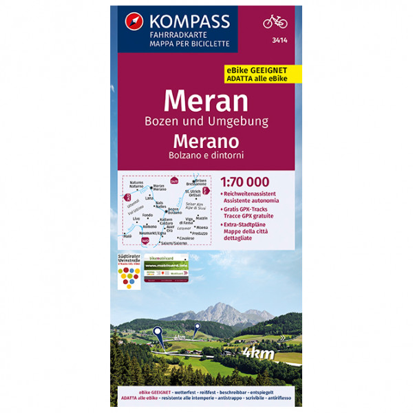 Kompass Fahrradkarte Meran, Bozen und Umgebung, Merano - Cykelkort køb online | Cycle maps