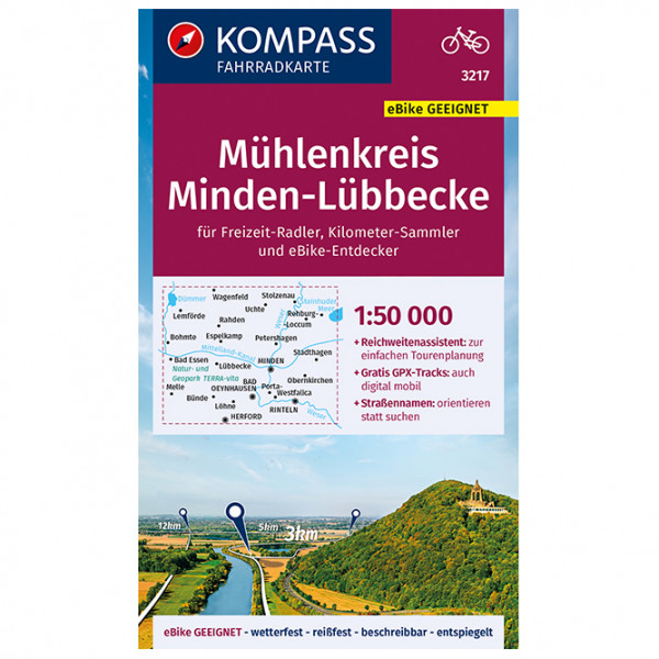 Kompass - Fahrradkarte Mühlenkreis Minden, Lübbeck - Cykelkartor