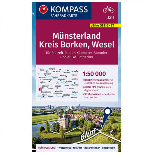 Kompass - Fahrradkarte Münsterland, Kreis Borken, Wesel - Radkarte