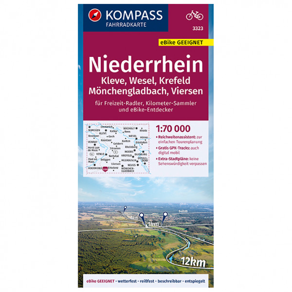 Kompass - Fahrradkarte Niederrhein, Kleve, Wesel, Krefeld - Cykelkort