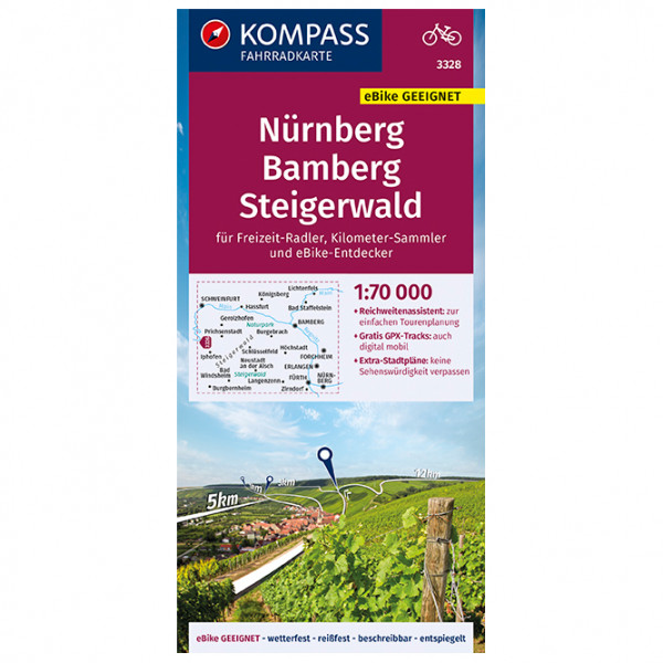 Kompass Fahrradkarte Nürnberg, Bamberg, Steigerwald - Cykelkort køb online | Cycle maps