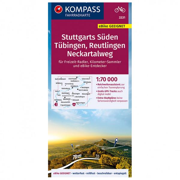 Kompass Fahrradkarte Stuttgarts Süden, Tübingen-Reutlingen - Cykelkort køb online | Cycle maps