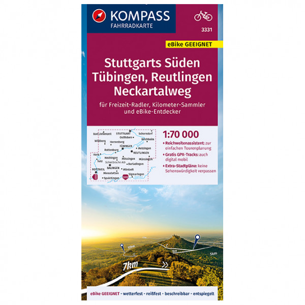 Kompass - Fahrradkarte Stuttgarts Süden, Tübingen-Reutlingen - Pyöräilykartat
