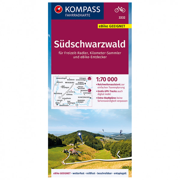 Kompass - Fahrradkarte Südschwarzwald 1:70.000, FK 3332 - Sykkelkart
