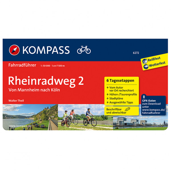 Kompass - Fahrradführer Rheinradweg 2 Mannheim Köln - Cykelguider