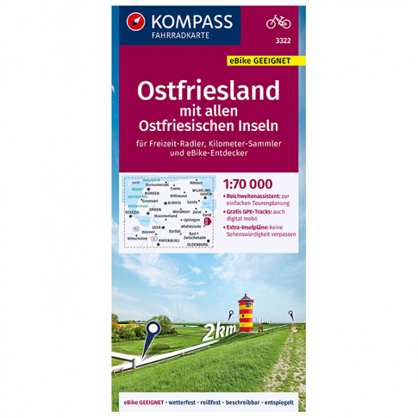 Kompass - Fahrradkarte Ostfriesland - Ostfriesischen Inseln - Velokarte