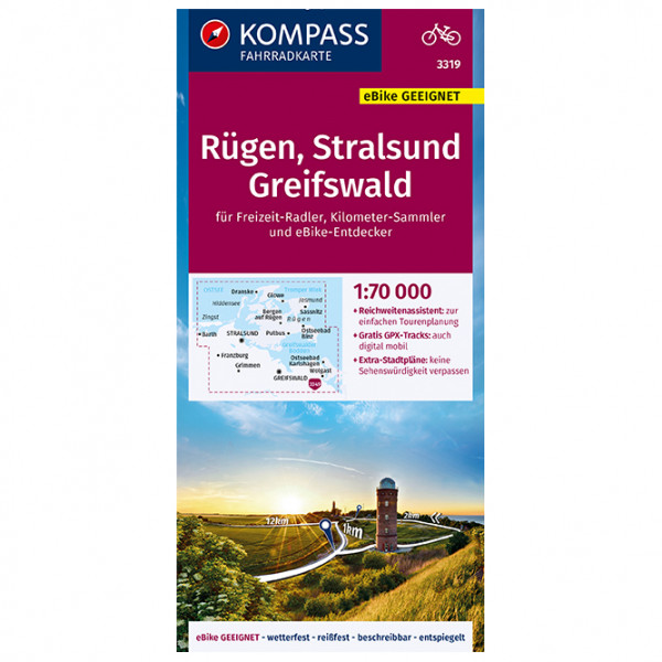 Kompass - Fahrradkarte Rügen, Stralsund, Greifswald - Velokarte