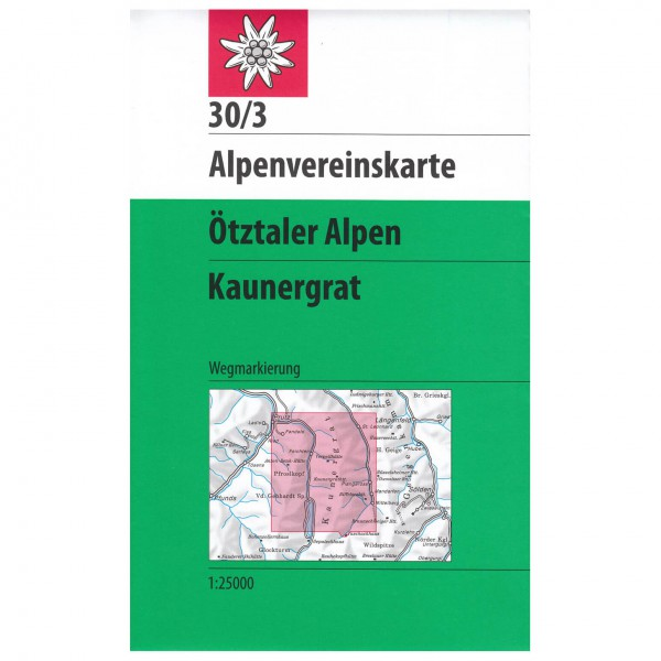 DAV - Ötztaler Alpen, Kaunergrat 30/3 - Hiking map