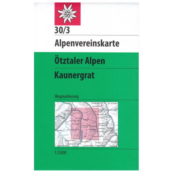 DAV - Ötztaler Alpen, Kaunergrat 30/3 - Mapa de senderos