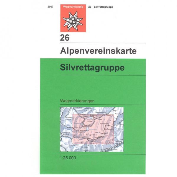 DAV - Sivrettagruppe mit Wegmarkierungen 26 S - Vandringskartor