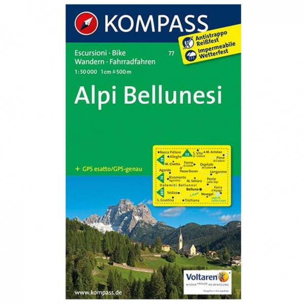 Kompass - Alpi Bellunesi - Hiking map