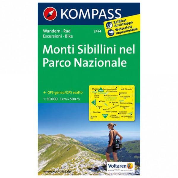 Kompass - Monti Sibillini nel Parco Nazionale - Vandrekort