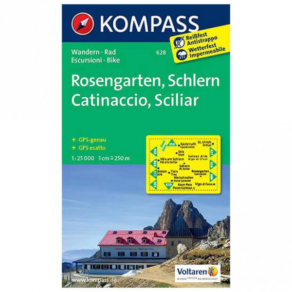 Kompass - Rosengarten /Catinaccio /Schlern /Sciliar - Wandelkaart