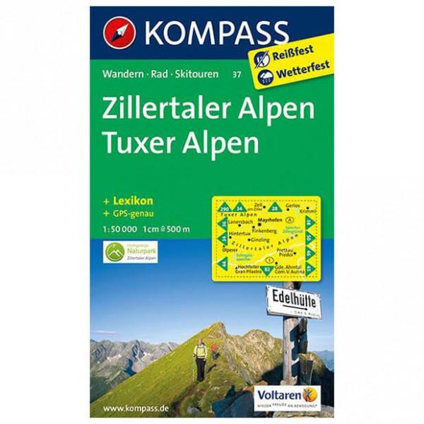 Kompass - Zillertaler Alpen - Mapa de senderos