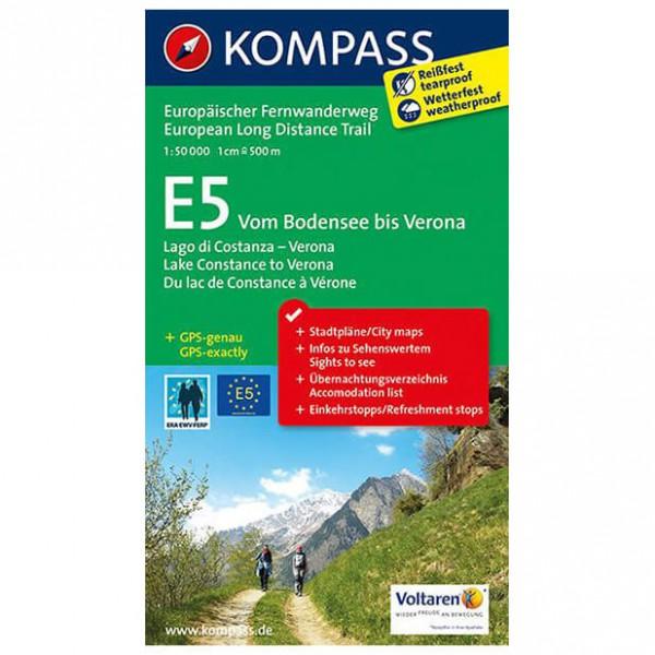 Kompass - E5 Vom Bodensee bis Verona - Wandelkaarten