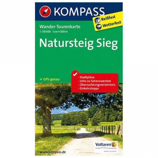 Kompass - Natursteig Sieg - Wander-Tourenkarte - Wanderkarte
