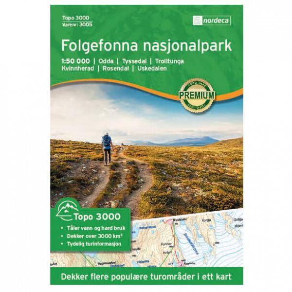 Nordeca - Folgefonna Nasjonalpark 1/50 - Hiking map