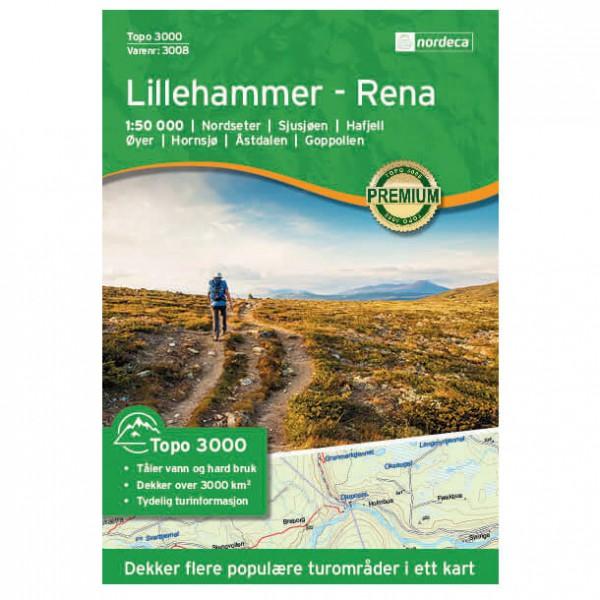 Nordeca - Lillehammer - Rena 1/50 - Carte de randonnée