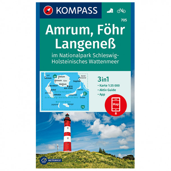 Kompass - Amrum, Föhr, Langeneß im Nationalpark Schleswig - Hiking map