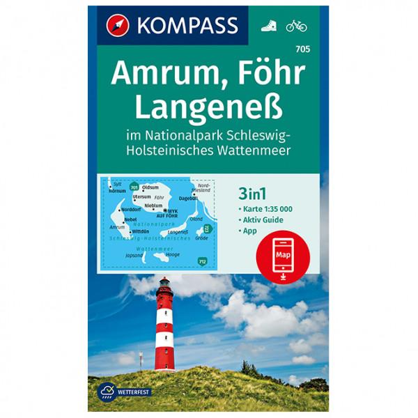 Kompass - Amrum, Föhr, Langeneß im Nationalpark Schleswig - Vandrekort