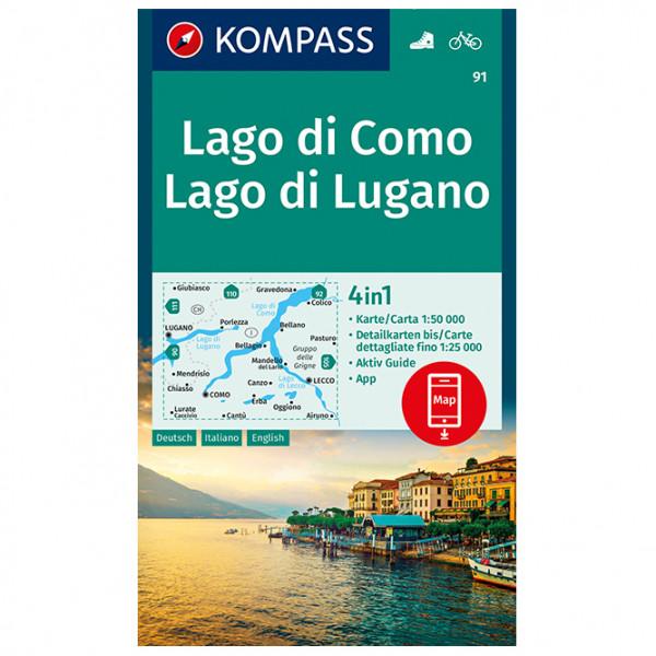 Kompass - Lago di Como, Lago di Lugano - Vaelluskartat