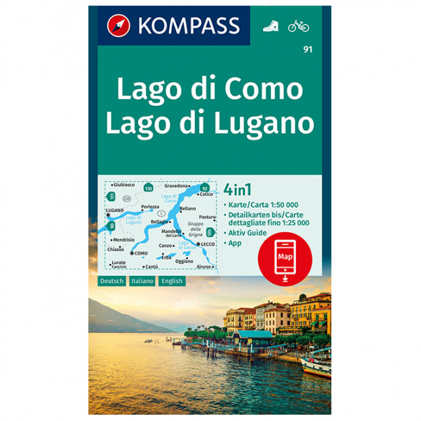 Kompass - Lago di Como, Lago di Lugano - Wanderkarte