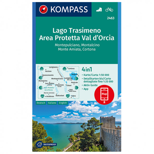 Kompass - Lago Trasimeno, Area Protetta Val d' Orcia - Wandelkaart