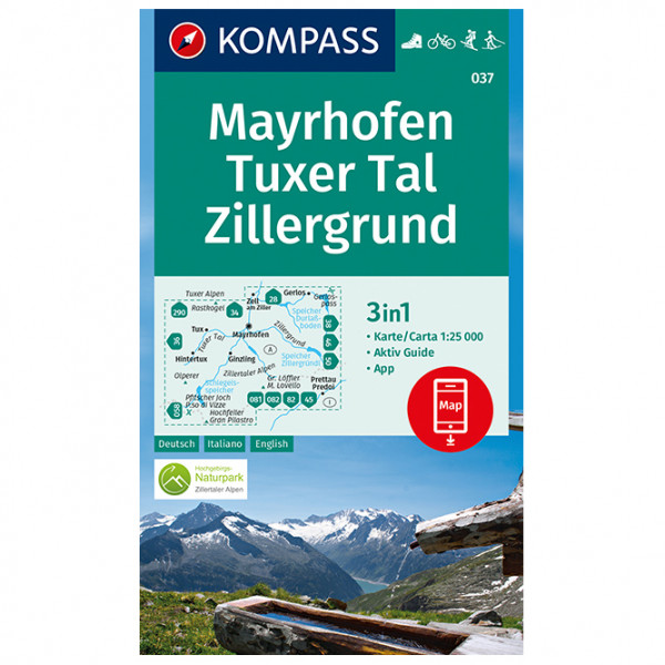 Kompass - Mayrhofen, Tuxer Tal, Zillergrund - Wandelkaarten
