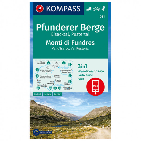 Kompass - Pfunderer Berge, Eisacktal, Pustertal - Hiking map