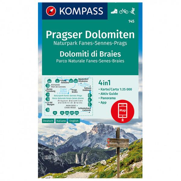 Kompass - Pragser Dolomiten, Naturpark Fanes-Sennes-Prags - Vandrekort