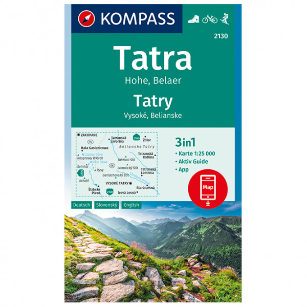 Kompass - Tatra Hohe, Belaer, Tatry, Vysoké, Belianske - Wandelkaart