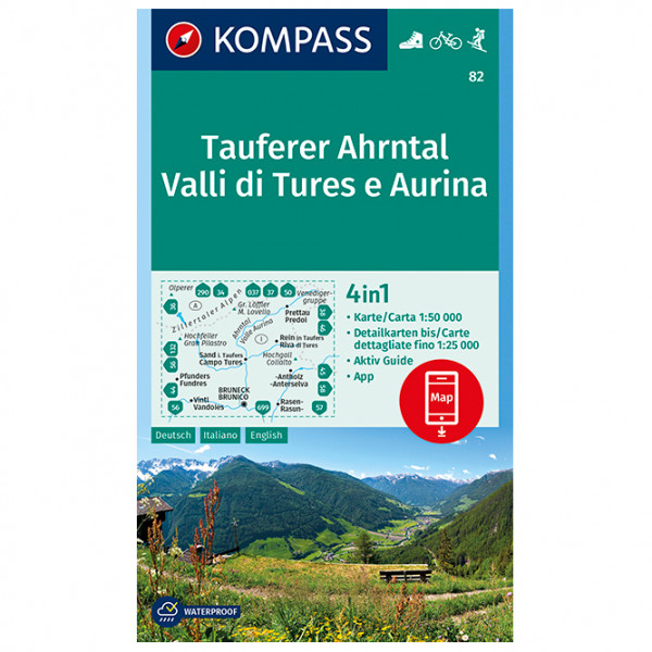 Kompass - Tauferer Ahrntal, Valle di Tures e Aurina - Vandrekort