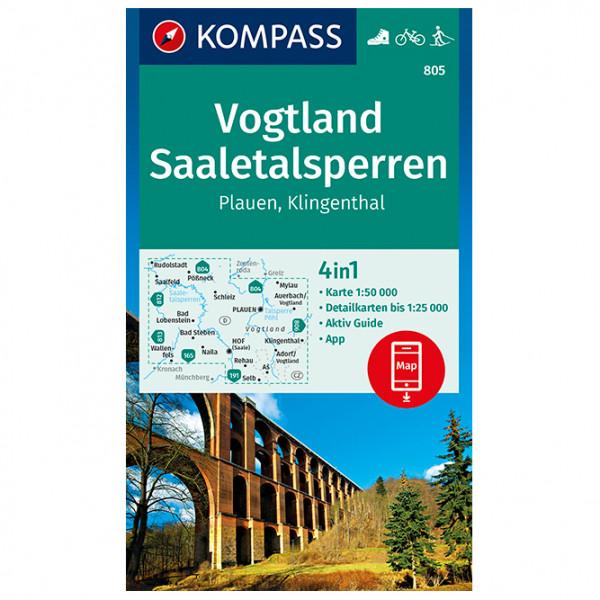 Kompass - Vogtland, Saaletalsperren, Plauen, Klingenthal - Wanderkarte