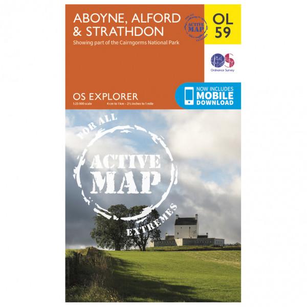 Ordnance Survey - Aboyne / Alford / Strathdon Waterproof - Vandringskartor