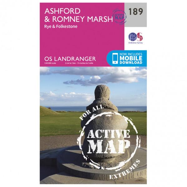 Ordnance Survey - Ashford / Romney Marsh / Rye Waterproof - Wandelkaarten